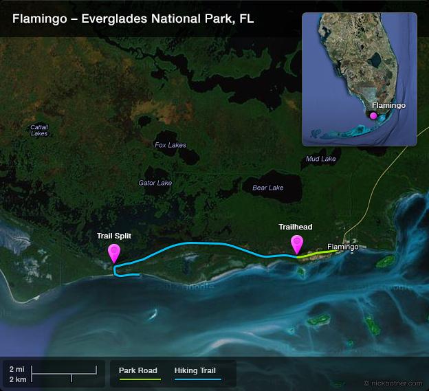 Everglades Flamingo Hiking Map