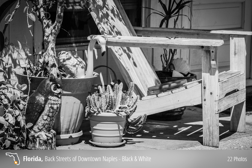Black and white photos of historic downtown Naples, Florida