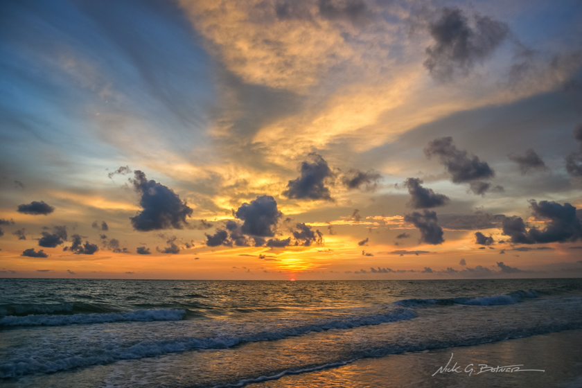Sunset along the beaches of Naples, Florida