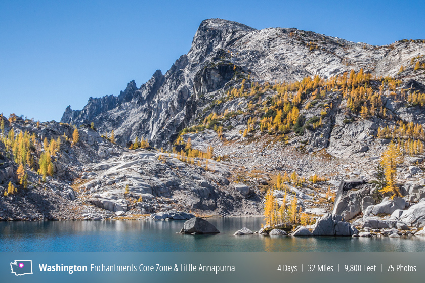 Backpacking the Enchantments during larch season and summiting Little Annapurna, Washington